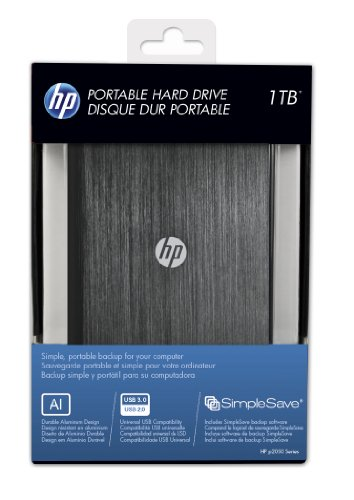 HP 1TB Black Brushed Aluminum Portable Hard Drive (HPHDD2E31000AX1-RBU), Best Gadgets