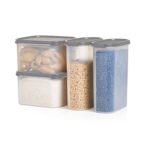 Tupperware Modular Mates Airtight Food Storage Container in Limited Edition Grey - 4 Piece Pasta ()