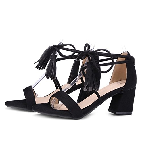 0 Sandaler Comfot Størrelse Hæl Store Sjjh 10 Med Kvinner Dusker Lav Tilgjengelig Og Svart Snøring Uk AvvPY4q