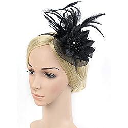 BAOBAO Women Flower Feather Net Veil Fascinator Hair Clip Headpiece Hat Cocktail Party