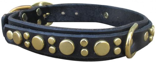 "Paco Collars - ""Medium Pickles Deluxe"" - Handmade Leather Medium Dog Collar - 1""Wide - Silver - Black 20""-22"""