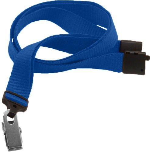 Royal Microweave Lanyard - Royal Blue Lanyard, flat MicroWeave ribbed poliester, break-away, Bulldog Clip, 5/8 wide (100pk) by Brady People ID