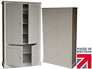 100% Solid Wood Cupboard, 172 cm Tall White Painted Linen, Pantry ...