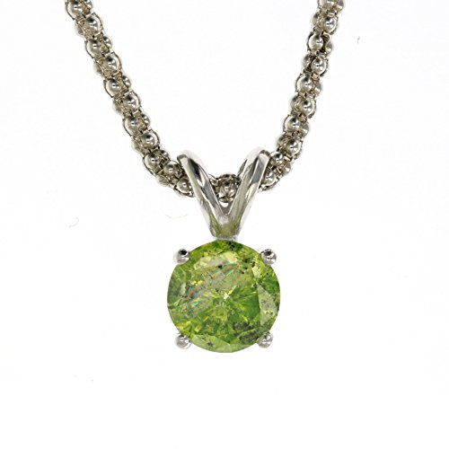 Green Diamond Solitaire (1.50 CT 14K White Gold Green Diamond Solitaire Pendant With)