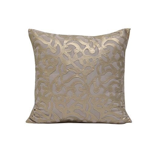 Glamour White Faux Leather - ON 1 Piece 18 X 18 Beige White Geometric Throw Pillow, Soft Gold Faux Leather Glamour Trellis Latice Square Mid Century Chic Modern Style Accent Pillows Seat Cushion Couch Sofa Bedroom Bed, Polyester