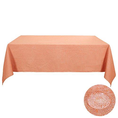 Deconovo Linen Tablecloths For Rectangle Tablecloths 60 x 84 Inch Tangerine