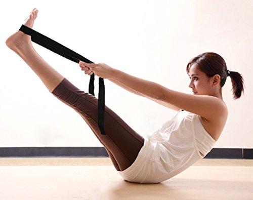 Gelante Fitness Exercise Yoga Strap - Durable Cotton 10 Feet Long Metal D-Ring 2034-Black/Purple