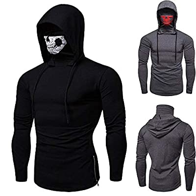 Hoodies for Mens, FORUU Mask Skull Pure Color Pullover Long Sleeve Hooded Sweatshirt Tops Blouse