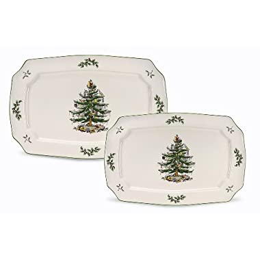 Spode Christmas Tree Rectangular Platters, Set of 2
