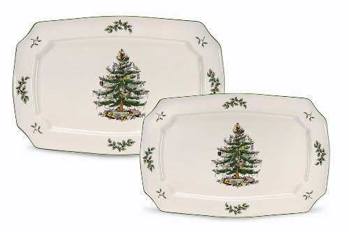 Spode Christmas Tree Rectangular Platters, Set of 2 (Christmas Tree Serving Platter)