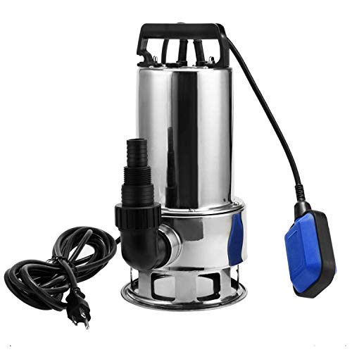 1.5 HP Stainless Steel Submersible Sump Pump With 15ft Cable and Float Switch For Dirty Clean Pools Ponds Irrigation Sprinkling Water Pump [US Stock] (1.5 HP-Silver) (Steel Pump Sump Stainless)