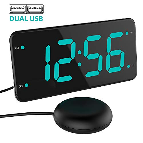 (Loud Alarm Clock with Bed Shaker, Vibrating Alarm Clock for Heavy Sleepers, Deaf and Hard of Hearing, Dual Alarm Clock, 2 Charger Ports, 7-Inch Display, Full Range Dimmer and Battery Backup - Green)