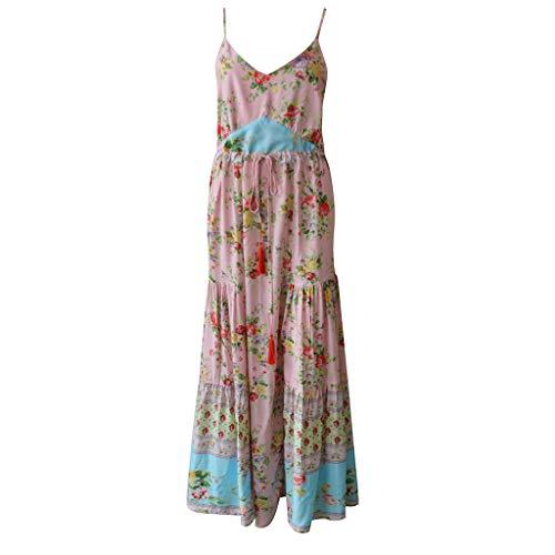 (Women's Off Shoulder Summer Casual Long Ruffle Beach Maxi Dress Strapless Boho Swing Dress Floor Length Sundress Pink)