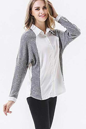 Bouton yulinge Col Blanc Longues Manches Femmes Up Chandail Tricot Blouses wq4S1wY
