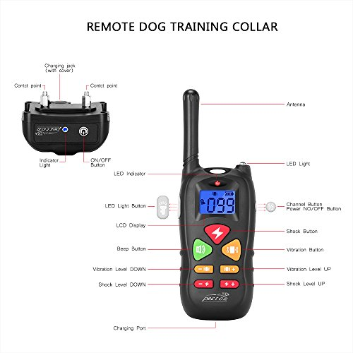 Dog-Training-Collar-PESTON-Shock-Collar-for-Dogs-Rechargeable-and-Waterproof-All-Size-Dogs-10Lbs-100Lbs-1000-Foot-Range
