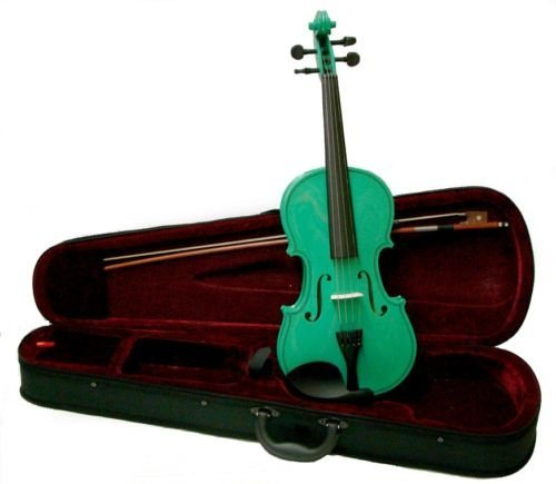 Merano MV300GR 4/4 Full Size Green Violin with Case and Bow+Extra Set of String, Extra Bridge, Rosin by Merano