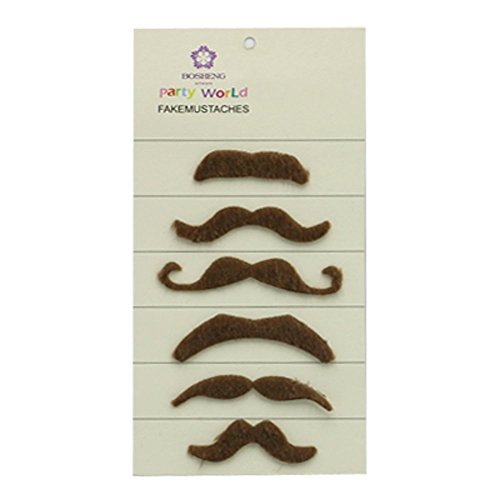 Fake Beard and Mustache Halloween Costume Accessory,Set of 6 (brown) ()