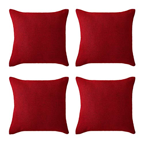 Deconovo Christmas Red Chair Cushion Covers Soft Faux Linen Pillow Case Cushion Cover for Sofa 18 x 18 Inch Dark Red Set of 4 No Pillow Insert (Sofa Cushions For Large Sale)