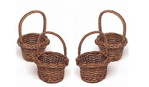 Mini Fern Basket Set of 4 - 2 Inches Diameter (Miniature Baskets)