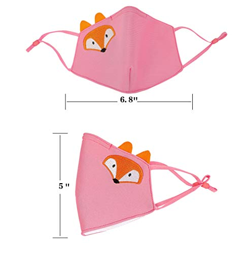 AOGE 2Pcs Washable Reusable Face Mask for Kids Adjustable Ear Loops, Cute Cartoon Print Mask, Breathable Protective Cotton Fabric Cloth Face Cover with Dust Filter Pocket (Fawn&Fox)