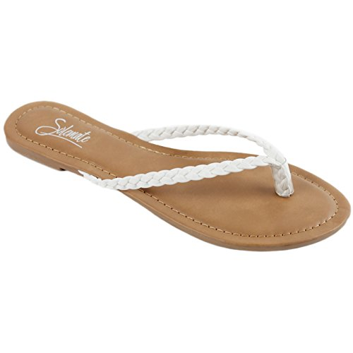 Solemate Women's Woven Braided Strappy Thong Flip Flop Sandal Flat Beach Sandals (7 M US, White) (Leather White Thong)