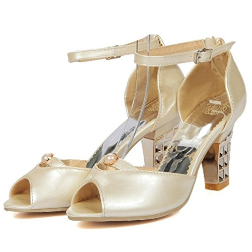 Toe Peep TAOFFEN Beige Sandals Women Heels qZwYES