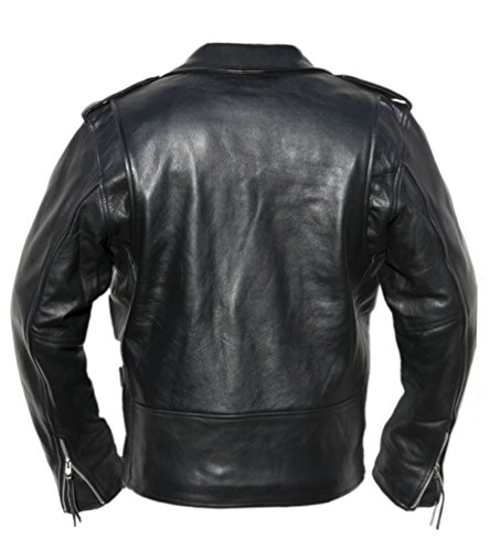Noble House Perfecto Herren Lederjacke Motorradjacke Bikerjacke schwarzes Stierleder
