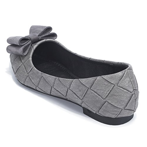 Chaussures D'honneur Femmes Florata Demoiselle Gris Tie Chaussures mode Tissu De Travail De Chaussures Carreaux Bow À Semelle Plate w77Y1