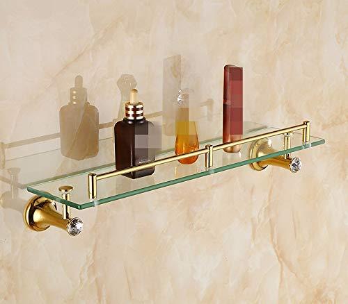 LHbox Tap The Golden Towel Rack Insert Drill Set Bathroom Toilet, Single-Layer Glass (Rack Glass Insert)
