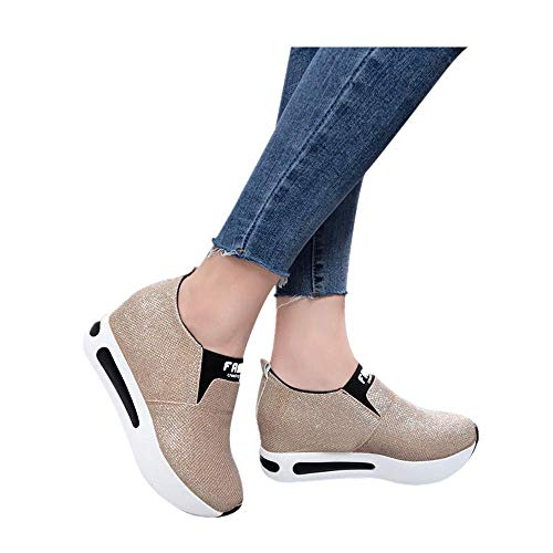 HAPPYSTORE Women Sneakers Platform Wedges Walking Flat Thick Bottom Shoes Slip On Ankle Boots Gold