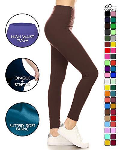 Leggings Depot Yoga Solid Pants Brown (LYEX128-BROWN)