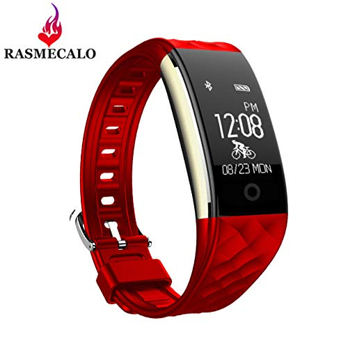 RASMECALO Unisex S2 Waterproof Smart Watch Fitness Tracker Offers All Day Real-time Date Heart Rate Sleep Sport Monitor Analysis Smartband for iPhone and Android (Red)