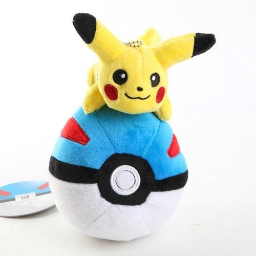 Pokemon Plush 7.2 Inch / 18cm Blue Poke Ball with Pikachu Doll Stuffed Animals Figure Soft Anime Collection Toy