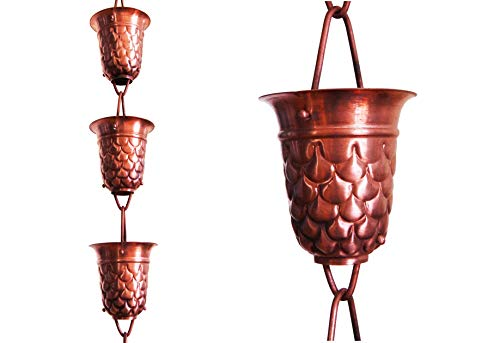 U-nitt 8-1/2 feet Pure Copper Rain Chain for Gutter: Pine Cone Embossed Cup 8.5 ft Length #5550