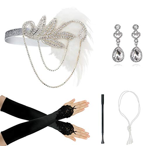 1920s Accessories for Women Headpiece Earrings Cigarette Holder
