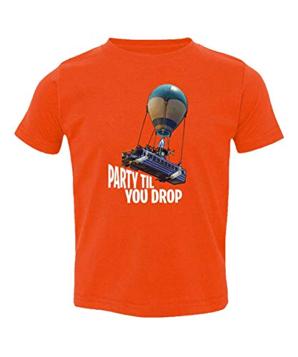 QASIMOF Graphic Shirt Party Till You Drop Battle Royale Little Kids Girls Boys Toddler T-Shirt (Orange, 4T)