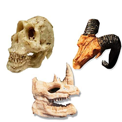 Tfwadmx Aquarium Decoration Skeleton Sheep Human Rhinoceros Skull Resin Skeleton Ornament Fish Tank cave Landscape pet Reptile House 3Pcs