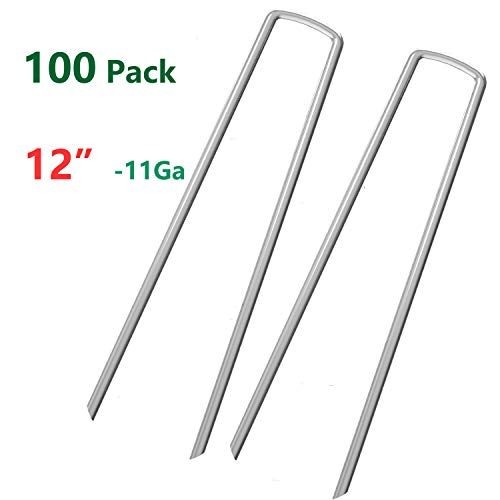 Ground Cover Landscaping - OuYi 100 Fence Anchors 12 Inch Garden Stakes/Spikes/Pins/Pegs 11 Gauge Galvanized Steel, Anchoring Landscaping, Weed Barrier Fabric, Ground Cover 100 Pack