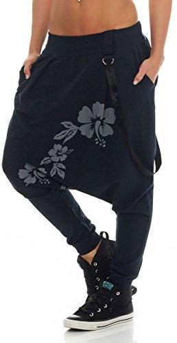 giarrettiere Aladin Taglia Pantaloni Blu Donna Baggy Sbuffo Unica malito 91085 Twist Scuro Boyfriend TI1wWOE