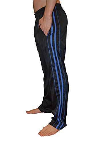 AllPro Men's AP Dash Warm-Up Pants Track Pants Open Bottom (Small, Black/Blue)