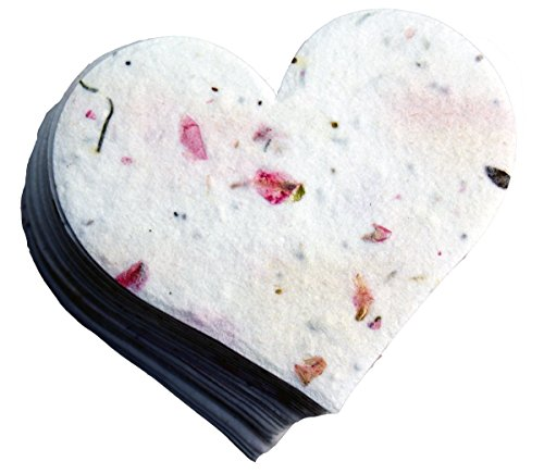 Plantable Seed Paper - OF THE EARTH Seed Embedded Larkspur Handmade Paper Tags, Heart Shape, Large, Pink