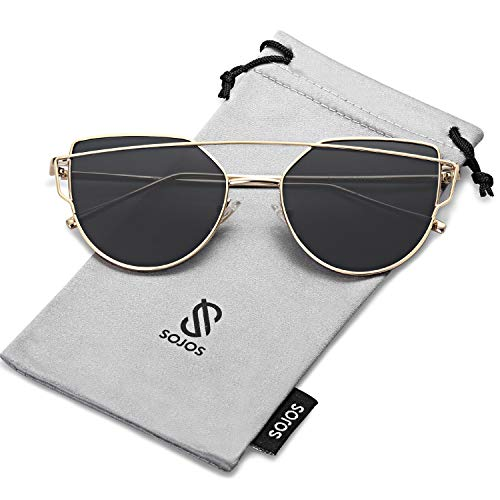 - SOJOS Cat Eye Mirrored Flat Lenses Street Fashion Metal Frame Women Sunglasses SJ1001 with Gold Frame/Grey Lens