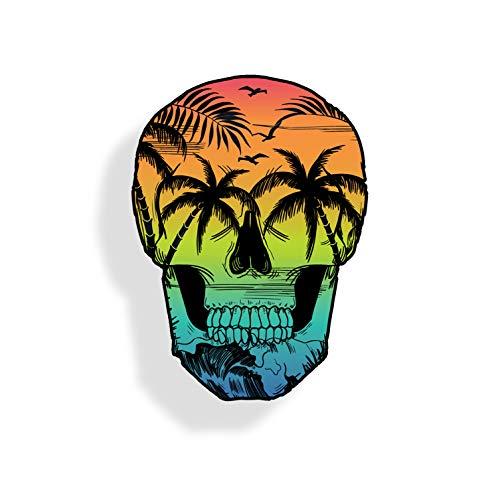 Beach Scene Skull Sticker Back Glass Car Window Bumper Decal Custom Printed Palm Tree Graphic