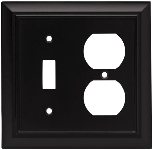 Brainerd 64213 Architectural Single Toggle Switch/Duplex Outlet Wall Plate / Switch Plate / Cover, Flat Black