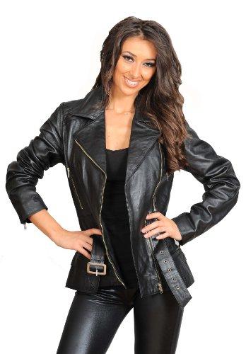 En Zippé Longueur Femmes Ajusté Noir Manteau Ceinture Hannah Véritable Moyenne Taille Veste Cuir Biker Fp4Ixqw4