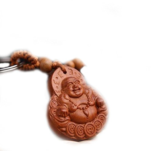 Chinese Laughing Buddha Carving Wooden Key Chain Key Ring for Cars Bags Decoration]()