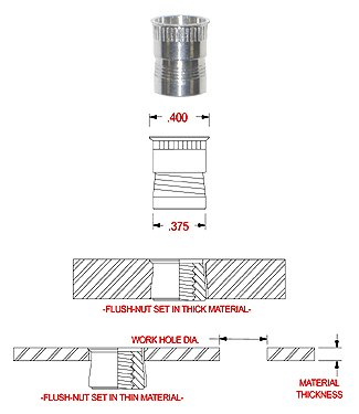 TSK2520 1/4-20 STEEL FLUSH NUT WITH KNURLS UNDER HEAD, CLEAR CAD FINISH (PACK OF 25)
