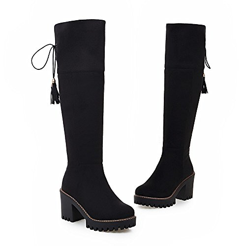 Black High Thigh High High Lace Boots AIWEIYi Faux Womens Suede Heels Boots up Square Knee qIn06wPU