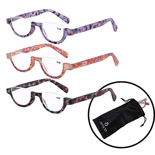 Multi Color Frames Reading Glasses - Optix 55 Women's Half Eye Reading Glasses 3 Pack - Multi Color Variety Pack- +250 Prescription Strength