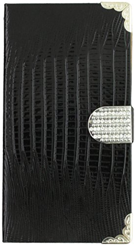 Asmyna MyJacket Wallet Case with Metal Diamonds Buckle and Silver Plating Tray for Nokia Lumia 1320 - Retail Packaging - Black Crocodile Skin